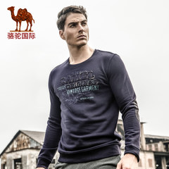 骆驼 秋季新款时尚商务休闲男士套头圆领字母长袖上衣