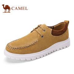Camel/骆驼男鞋春季时尚反绒牛皮日常休闲系带男鞋帆船鞋