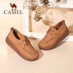 Camel/駱駝女鞋 新款 系帶百搭簡約松糕厚底休閑中跟秋鞋