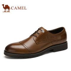 Camel骆驼男鞋 春季男士时尚鳄鱼纹商务系带正装皮鞋男
