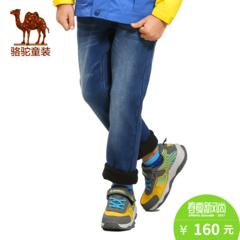 小骆驼童装春季儿童加绒长裤弹力腰猫须磨白中腰牛仔裤