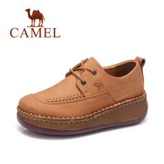Camel/骆驼女鞋 秋冬 系带真皮女鞋松糕厚底坡跟休闲鞋女