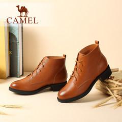 骆驼女鞋  2016秋冬新款欧美风低跟马丁靴复古简约圆头系带女靴