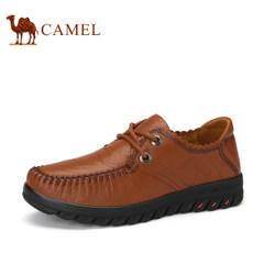 骆驼女鞋 舒适平跟休闲鞋手工缝制柔软系带女士单鞋透气耐磨