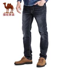 【热卖中】骆驼春季新款时尚黑色合体直筒商务休闲牛仔裤长裤子男