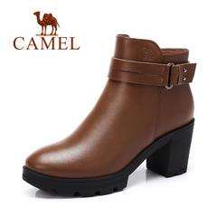 Camel/骆驼短靴 2016秋冬新款 休闲舒适粗跟短靴简约高跟女靴子