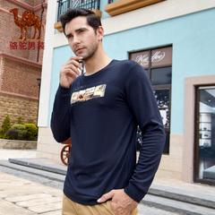 Camel/骆驼男装时尚印花T恤 春季新款圆领商务休闲长袖T恤衫