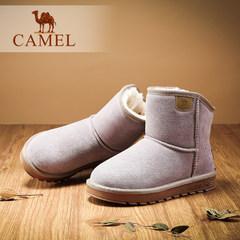 骆驼冬季新款韩版简约休闲保暖舒适雪地靴反绒真皮短靴