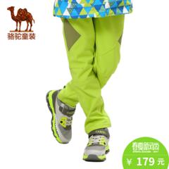 小骆驼童装季休闲登山裤防风防水加绒保暖儿童户外软壳裤