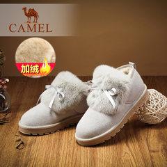 骆驼女鞋 2016冬季新款韩版雪地靴短靴保暖兔毛拼磨砂真皮靴