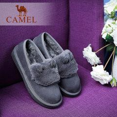 骆驼女鞋 2016新款雪地鞋卡通兔毛镶钻耳朵加绒女棉鞋休闲鞋