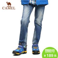 camel/骆驼户外儿童牛仔长裤子弹力腰猫须磨白中腰牛仔裤