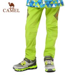 camel/骆驼 防风防水加绒保暖透气儿童户外软壳裤长裤
