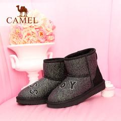 骆驼女鞋 2016冬季款 时尚防寒刺绣字母亮片女中筒靴雪地靴潮靴