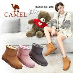 骆驼女鞋2016冬新款加绒雪地靴加厚平底短靴短筒学生女靴子