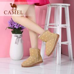 Camel/骆驼短靴 2016冬季新款短筒雪地靴磨砂真皮保暖短靴女靴