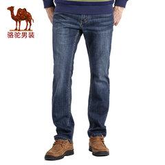 骆驼 秋季新款时尚猫须合体直筒中腰拉链牛仔裤长裤子男
