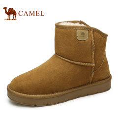 Camel/骆驼情侣款雪地靴2016冬季新款保暖舒适休闲牛皮短筒靴