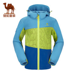 骆驼新款防水透气防风防静电舒适面料儿童软壳衣