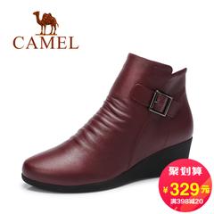 Camel/骆驼短靴 2016秋冬新款 圆头拉链女靴舒适简约休闲短靴