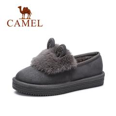 Camel/骆驼短靴 2016冬款雪地鞋卡通兔毛镶钻耳朵加绒女棉鞋休闲