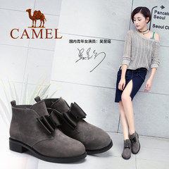 骆驼女鞋2016秋冬复古甜美蝴蝶结磨砂真皮女靴低跟短靴