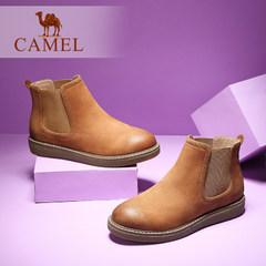 Camel/駱駝女鞋 秋冬款 簡約休閑套腳舒適磨砂真皮短靴裸靴