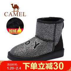 Camel/骆驼女靴 冬季女鞋防寒刺绣字母亮片女短筒靴雪地靴