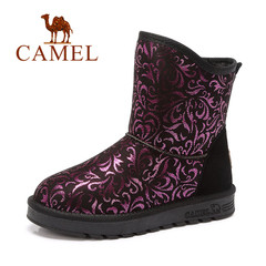 Camel/骆驼女靴 2016秋冬新款 舒适防寒中筒靴宫廷复古印花雪地靴