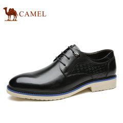 Camel/骆驼男鞋 秋季 男士英伦潮流复古鳄鱼纹时尚尖头休闲皮鞋