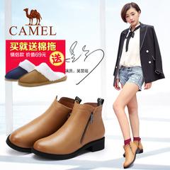 Camel/骆驼女鞋2016秋冬新款简约休闲女靴舒适侧拉链女靴子短靴