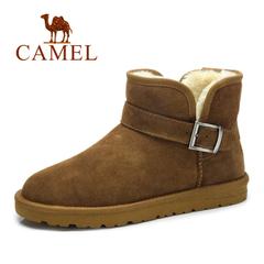 【情侣款】Camel骆驼雪地靴男2016冬季新款真皮加绒保暖棉鞋男靴
