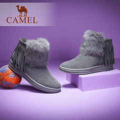 Camel/骆驼短靴 2016秋冬新款纯色时尚靴保暖兔毛女靴短靴子