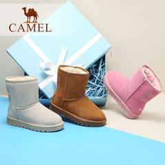 Camel/骆驼女靴 2016秋冬新款纯色舒适中筒女靴保暖雪地靴女靴
