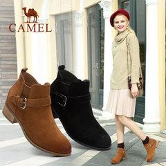 Camel/骆驼短靴 秋冬女鞋欧美纯色短筒靴扣带女靴休闲靴子