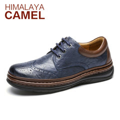 喜马拉雅骆驼男鞋春季新品英伦复古男鞋 舒适商务休闲皮鞋男