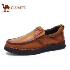 CAMEL骆驼牌男鞋2017套脚手工缝线鞋男士舒适柔软耐磨休闲皮鞋
