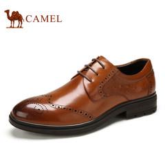 Camel/骆驼男鞋 尖头布洛克鞋男真皮商务雕花皮鞋 春季新品