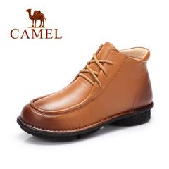 Camel/骆驼短靴秋冬女鞋简约舒适休闲系带擦色女靴低跟短靴
