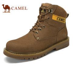 Camel骆驼男靴 时尚户外耐磨潮流磨砂牛皮高帮工装鞋