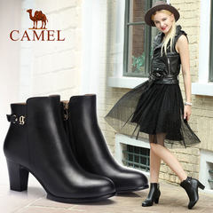骆驼女鞋 秋冬款靴子 真皮圆头拉链高跟短靴 时尚女靴