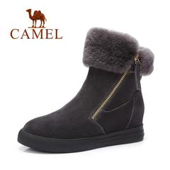 Camel/骆驼女靴 秋冬女靴时尚羊羔毛女靴休闲内增高女靴子