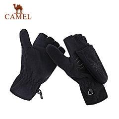 CAMEL骆驼户外手套 防风透气翻盖两用五指便装手套