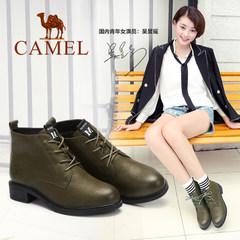 骆驼女鞋 秋冬款短靴 真皮英伦风马丁靴 中跟加绒女靴子