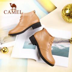 Camel/骆驼女鞋  秋冬款  纯色时尚休闲马丁靴真皮系带女靴