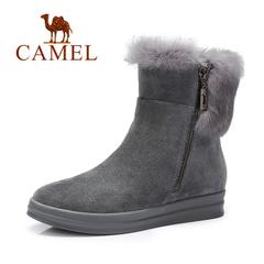 Camel/骆驼女靴 2016冬季新款 欧美风侧拉链中筒靴时尚休闲女靴