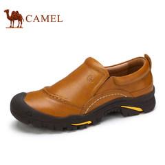 Camel骆驼牌男鞋2017复古舒适手工缝线皮鞋耐磨透气套脚男休闲鞋