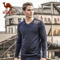 骆驼 秋季新款时尚棉质V领纯色长袖T恤 休闲印花修身t恤男
