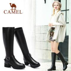 Camel/駱駝女鞋   秋冬款  時尚粗跟靴 休閑長筒女靴