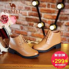 Camel/骆驼女鞋 2016秋冬新款 纯色时尚休闲马丁靴真皮系带女靴